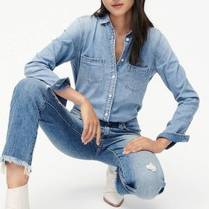 embroidered j crew everyday chambray shirt